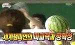 Badmintonspieler vs Melone